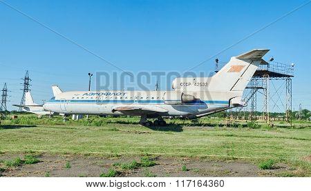 Old Soviet Aircraft Yak-42 At An Abandoned Aerodrome
