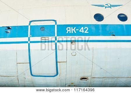 Fuselage Of Old Soviet Aircraft Yak-40
