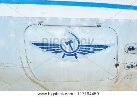 Logotype Of Aeroflot On Old Grunge Fuselage Of Aircraft