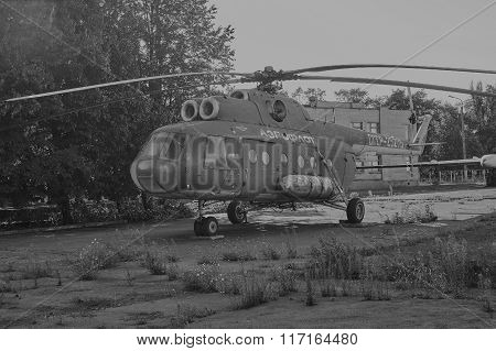Old Soviet Helicopter Mi-8 At An Abandoned Aerodrome