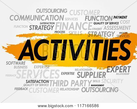 ACTIVITIES word cloud collage, business concept background