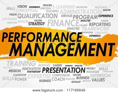 Performance Management word cloud collage, business concept background