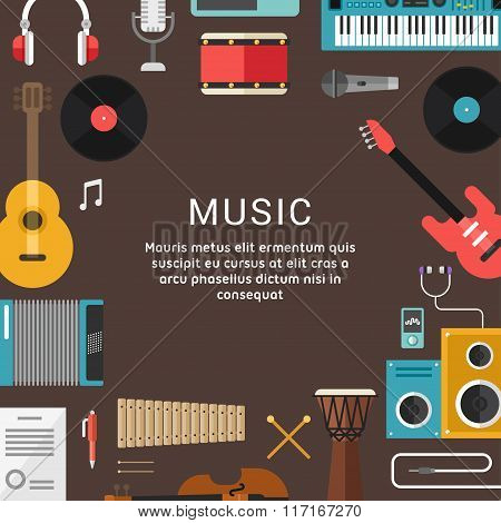 Musical Concept. Vector Illustrations Of Musical Instruments And Icons In Flat Design Style For Web