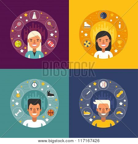 Set Of Vector Illustrations In Flat Design Style. Sport Icons And Objects In The Shape Of Circle. Sp