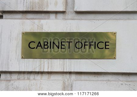 London, Uk - Janurary 28Th. Brass  Sign Outside The Cabinat Office In Whitehall London. January 28Th