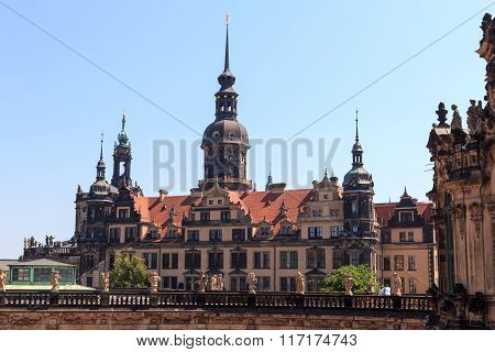 View From Palace Zwinger Towards Dresden Castle, Germany