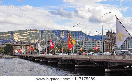 GENEVA, SWITZERLAND - SEPTEMBER 3, 2015: Panoramic view of the waterfront of Leman lake in Geneva on September 3 2015. Geneva is the second largest city of Switzerland.