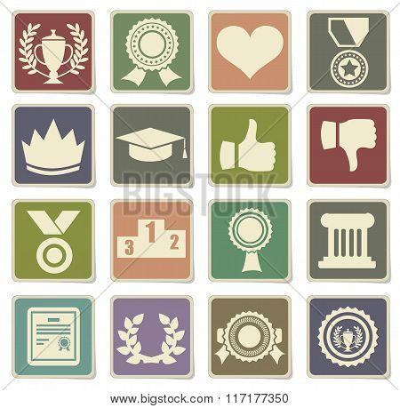 Trophy and prize icons for web sites poster