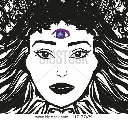 Woman with third eye psychic supernatural senses poster