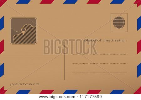 Retro postcard with paper texture. Vector illustration of an envelope, with pin place on the map. Vi