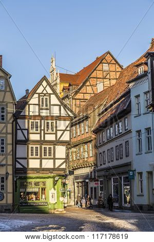 Scenic Old Half Timbered Houses In Quedlingburg
