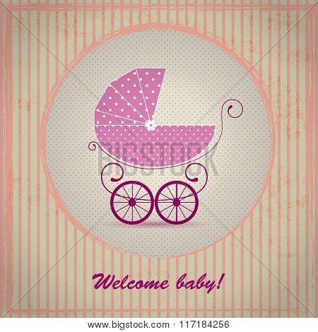 Baby shower announcement, invitation, birthday retro card