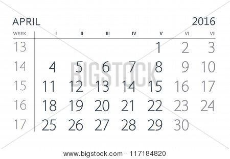 2016 Year Calendar. April