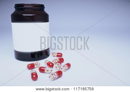 Brown Bottle With Blank Sticker And Pills, Mock Up