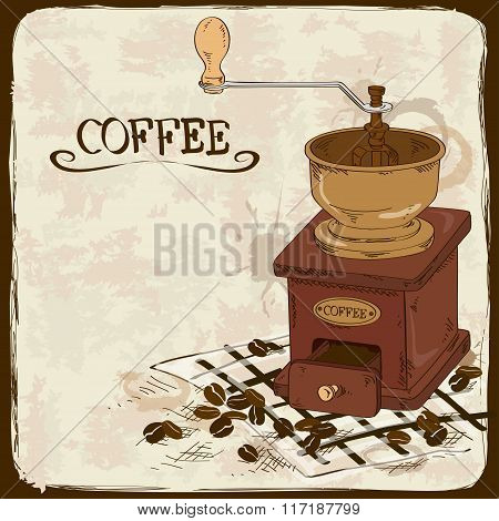 Illustration With Coffee Grinder.