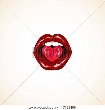 Illustration Of Isolated Woman Lips With Candy