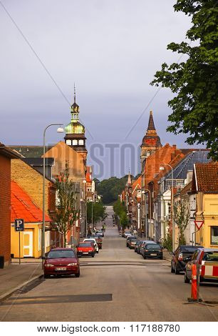 Morning View Of Streets In Fredericia City, Denmark