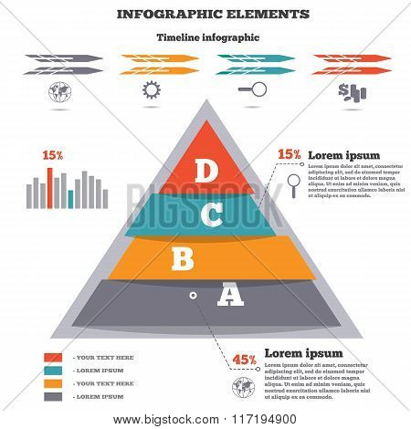 Infographics elements. Pyramid chart, timeline diagram, icons. Banner with four options. Disbalance,