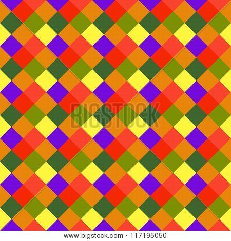 Seamless geometric pattern. Diagonal square, braiding, woven line background. Motley warm, brigth, v