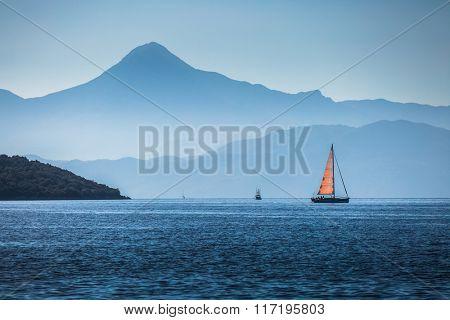 Sailing boats in a calm bay. Aegean Sea, Turkey