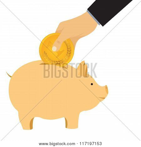 Hand Omit A Coin In A Piggy Bank.