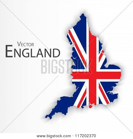England Flag And Map ( United Kingdom Of Great Britain ) ( Combine Flag And Map )