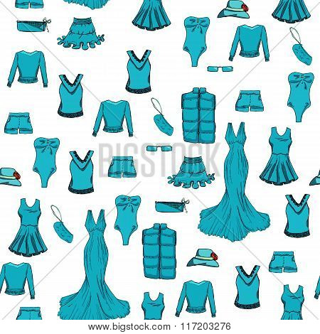 Seamless pattern. Fashion set in blue color. Different clothes. illustration in hand drawing style.