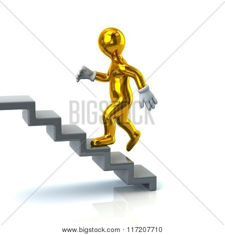 Golden Man On Stairs Going Up