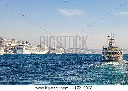 Istanbul ferry. Boats on Bosporus. Istanbul view