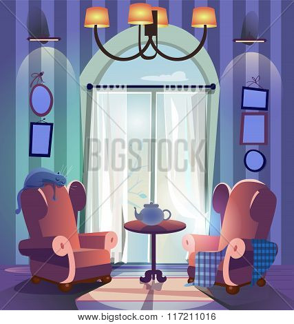 home interior with armchairs and coffee table
