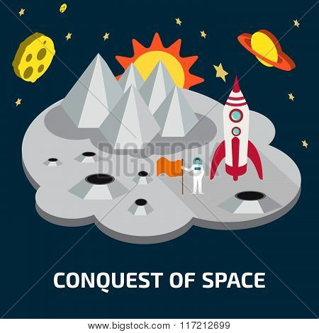Conquest of space. Space isometric elements.