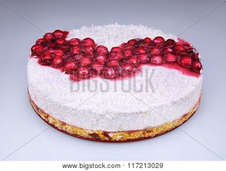 Homemade Unbaked Cheesecake With Berries And Coconut