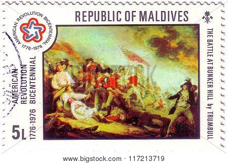 Maldives - Circa 1976: A Stamp Printed In Maldives Shows The Battle At Bunker Hill By Trumbull, Amer