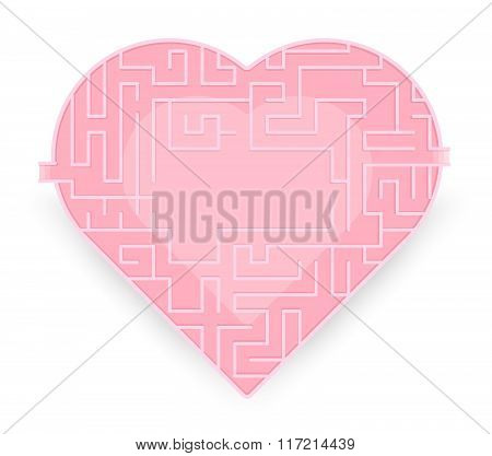 Maze Of Hearth. Fine True Love. Vector Stock.