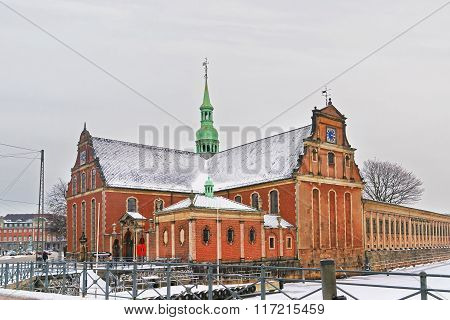 Church of Holmen in Copenhagen in winter. It is is a Parish church in central Copenhagen in Denmark. It is famous for having hosted the wedding between Margrethe Second of Denmark and Prince Henrik