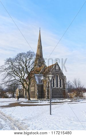 Church of St Alban in winter Copenhagen. St Alban Church is referred to the English Church. It is an Anglican church in Copenhagen Denmark. It is traditional English parish church in the gothic style