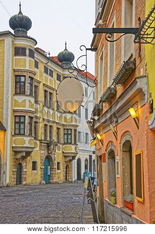 Street view in the Old city in Linz in Austria