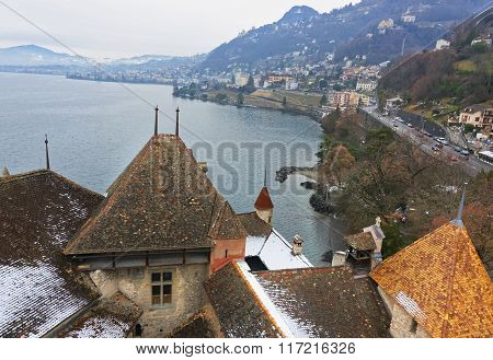 View To Montreux From Chillon Castle On Lake Geneva