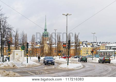 Winter Gamla Stan And Church Of Saint Clare In Stockholm
