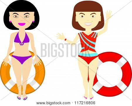 Gorgeous Stylish Girls With Different Emotions In The Purple And Red Bathing Suit. Girls In Beachwea