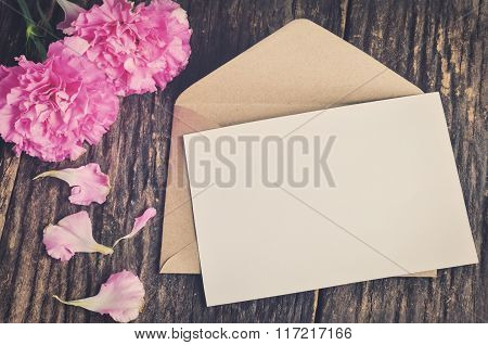 Blank White Greeting Card With Brown Envelope