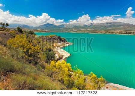 Lake Vinuela at a sunny day Andalusia Spain