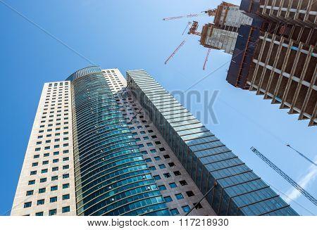 Modern office buildings in Tel Aviv city Israel poster