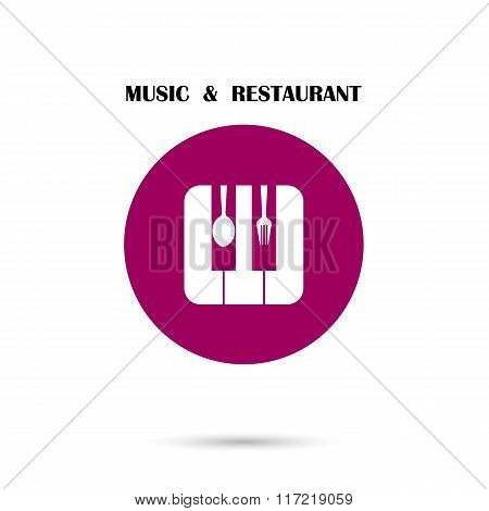 Creative Music And Restaurant Icon Abstract Logo Design Vector Template. Corporate Business Creative