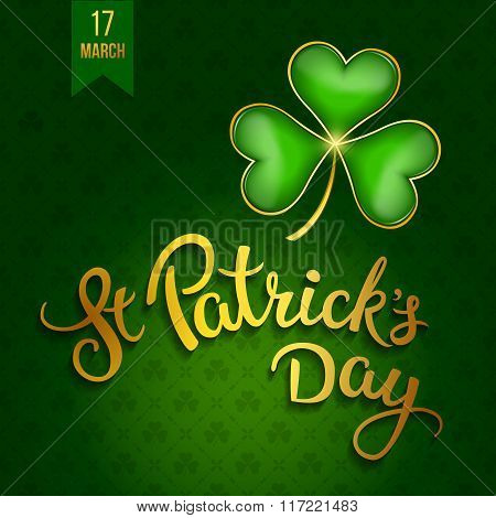 Clovers And Original Lettering St. Patricks Day