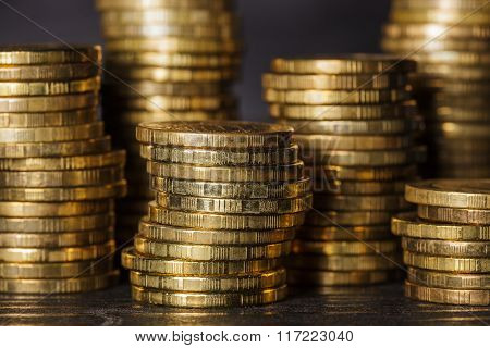 A Stack Of Russian Coins.