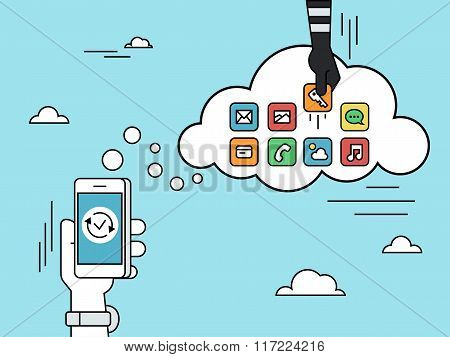 Cloud hacking flat line contour illustration of human hand  withdraws cash