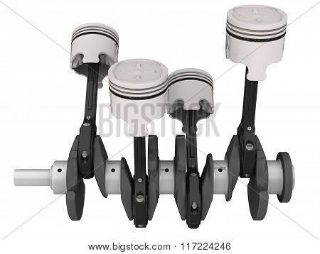 Engine pistons and crankshaft assembly