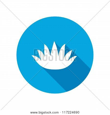 Lily flower icons. Water-lilies, waterlily floral symbol. Round blue circle flat icon with long shad