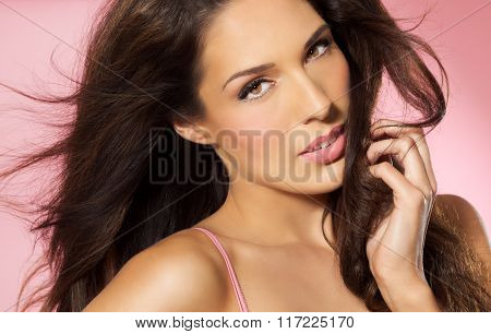 Beauty Over Pink Background
